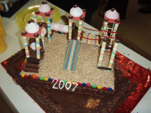 A playground cake to mark the celebration.