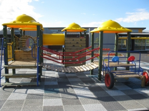 A striking looking playground with its vibrant colours.