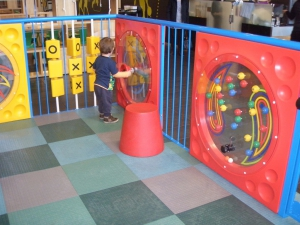 Engaging fun filled activity panels seen here in a Indoor play area designed and installed by Playgear™ by A.J Grant