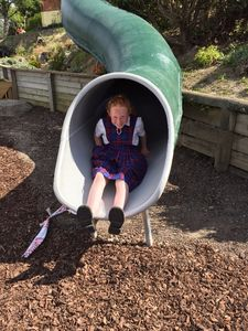 An exhilarating ride on the  PLAYGEAR™ Fibreglass, Tunnel Slide. What fun!